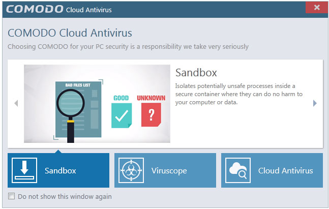 Cloud Antivirus Welcome Screen